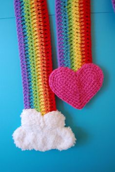 Rainbow Scarf Free Crochet Pattern:  So sweet!  I'm thinking I will make mine with a sun instead of a heart, as much as I get the whole 'hearts and rainbow' thing I'm more of a sun and cloud girl myself ;)