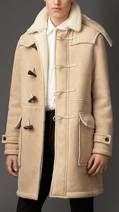 Burberry London Heritage Detail Shearling Duffle Coat