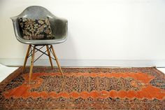 Very Fine Antique Tomato Red Malayer Rug 4x6 :: Old New House Rugs