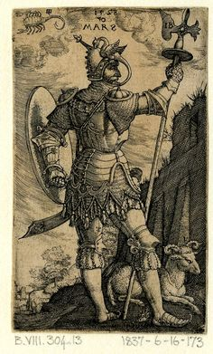Mars from a series of The Seven Planets. Seen from behind, the head in profile to right; wearing armour; a scorpion representing Scorpio at upper left; a ram for Aries on the ground at right; from a series of seven engravings of the planetary gods as whole-length figures standing in landscapes with symbols of their respective signs of the Zodiac. 1528 Engraving Print made by: Monogrammist IB School/style: German  Date: 1528 Materials: paper Technique: engraving Height: 83 millimetres Width…