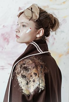 """Lisa Smirnova embroidered fashionable garments for a collection called """"Artist At Home,"""" which blurs the line between home and studio."""