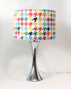 """Lamp Shade - 14"""" Drum - Houndstooth - Bright and Colorful-  """"Happy houndstooth"""" - Linen - Cotton Blend - Washer Top / Harp Fitting. $85.00, via Etsy. - would be super awesome in all bright colors"""