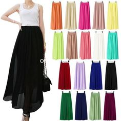 New Women Double Layer Chiffon pleated Retro Long Elastic Waist Maxi Dress Skirt #Unbranded #Skirt