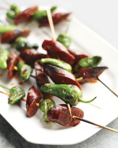 Padron Peppers Skewered with Chorizo - Take tapas to the grill with smoky chorizo skewered with spicy Spanish peppers.