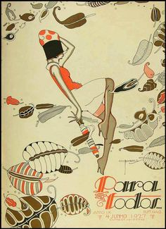 art deco - Illustration cover by José Carlos June Para Todos…, # Art Deco Illustration, Graphic Illustration, Designers Gráficos, Magazine Art, Magazine Covers, Dance Magazine, Art Projects For Adults, Book Page Art, Graffiti