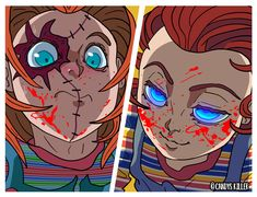 Chucky look surprised- Chucky Horror Movie, Chucky Movies, Horror Movies Funny, Horror Movie Characters, Horror Films, Scary Movies, Horror Art, Horror Drawing, Villainous Cartoon