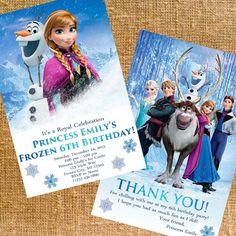 Customized Disney Frozen Birthday Party Invite & Thank You - Digital Files