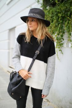 Lucy Williams in a hat, colorblock sweater and crossbody bag #style #fashion