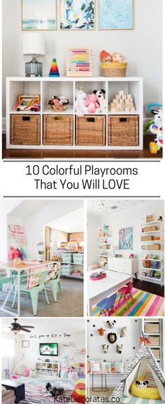 GREAT inspiration for creating a colorful, bold and bright playroom or kids' room!