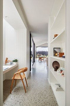 As a contemporary terrace house for a young family in Brunswick, LLLBion House by Tecture has been designed as a home filled with love and laughter. Home Office Design, Home Office Decor, Home Interior Design, Interior Architecture, House Design, Home Decor, Melbourne, Office Nook, Hallway Office