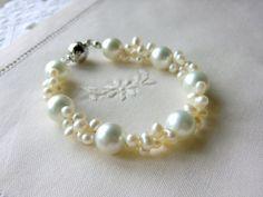 White Pearl Bracelet Freshwater Pearl Bracelet, Wedding Jewelry by CharlotteJewelryBox, $45.00