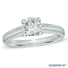 Celebration 102™ 7/8 CT. T.W. Diamond Engagement Ring in 18K White Gold (I/SI2)