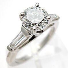 Eco Friendly Estate Engagement Ring Diamond Solitaire w/ Baguette Accents Solid Platinum - EraGem sold for $5,999.00...