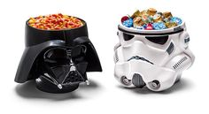Darth Vader And Stormtrooper Helmet Candy Bowls
