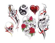 Heart And Skull Tattoo Designs | ... more tattoo images under dagger tattoos html code for tattoo picture