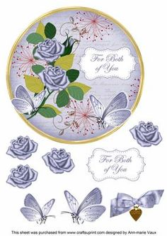 Blue Rose Both of You 7in Circle Decoupage Topper on Craftsuprint - Add To Basket!