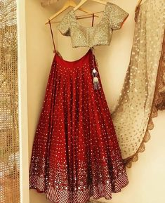 indian fashion Bridal -- Click Visit link above for more options Half Saree Designs, Lehenga Designs, Saree Blouse Designs, Designer Party Wear Dresses, Indian Designer Outfits, Indian Attire, Indian Ethnic Wear, Indian Lehenga, Lehenga Choli