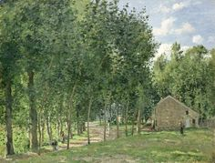 """""""The house in the forest"""" """"La maison dans le bois"""" (1872) By Camille Pissarro, French Artist (1830-1903)"""