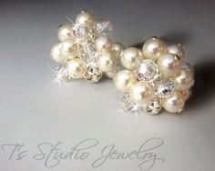 KARA Pearl Stud Cluster Earrings  Silver and Ivory by TZTUDIO, $50.00