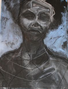 beginning exploration on canvas by Kat Ostrow  charcoal acrylic and black gesso on 30 x 40 inch canvas 5-12-13