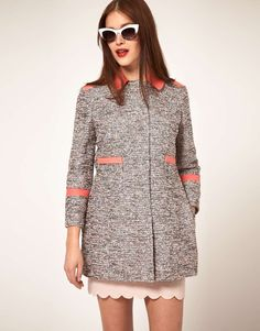 Textured Coat With Contrast Collar