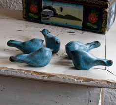 Bird sculpture set of 5 blue birds by redhotpottery on Etsy, $35.00