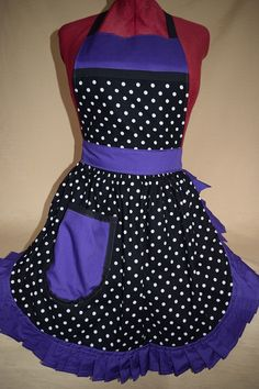 Retro Vintage 50s Style Full Apron / Pinny - Black & White Polka Dot with Purple Trim by FabriqueCreations, £20.00