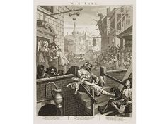 William Hogarth's famous Gin Lane print, depicting scenes of social decay that…