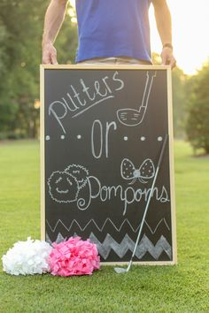 www.whitkatephotography.com Gender reveal session.  Putters or Pom-poms? #whitneykatephotography