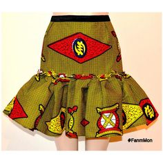 Afircan print ruffle flounce skirt ankara sexy skirt by FanmMon African Dresses For Kids, Latest African Fashion Dresses, African Inspired Fashion, African Print Fashion, African Attire, African Wear, African Women, African Print Skirt, African Print Dresses