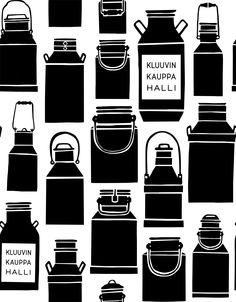 This Kauniste pattern of old Finnish milk churns was designed by Maria Tolvanen for the bags of Kluuvi's organic food store in Helsinki. The store is designed by Harri Koskinen and we also made curtains from this pattern for the milk bar down stairs. Milk Churn, Senior Project, Hotel S, Market Bag, Helsinki, Graphic Design Illustration, Organic Recipes, Finland, Beverage