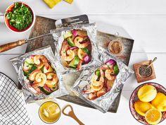 Shrimp Dishes, Shrimp Recipes, Fish Recipes, Fish Dishes, Pasta Dishes, Meat Recipes, Dinner Recipes, Foil Packet Dinners, Seafood
