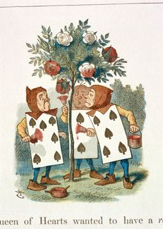 'Painting the Rose Bushes' Illustration to the eighth chapter of Alice in Wonderland by Sir John Tenniel, 1865 coloured and enlarged in the Nursery Alice edition of 1890