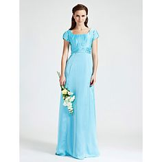 Sheath/Column Scoop Floor-length Chiffon Stretch Satin Bridesmaid Dress – USD $ 129.99