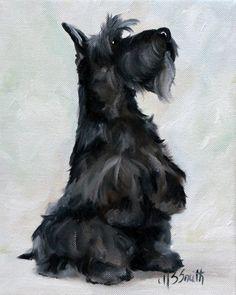 Mary Sparrow Black Scottie Scottish Terrier Dog Art Oil Painting Print Mssmith | eBay