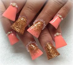 Coral And Gold Acrylic (Flared) by Valleybabe from Nail Art Gallery Flare Acrylic Nails, Flare Nails, White Acrylic Nails, Gold Nails, Duck Nails, Wide Nails, Diy Entertainment Center, Entertainment Weekly, Coral And Gold