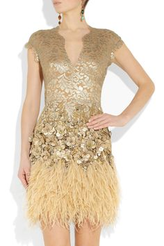 Matthew Williamson Feather and Crystal-Embellished Lace Dress in Gold