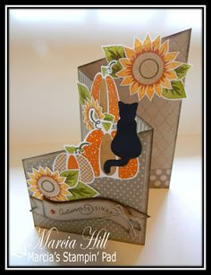 Ashley is up with a FUN tutorial on this week's Make It Monday challenge and shows us how to make a Z fold card. Would hav. Halloween Cards, Fall Halloween, Cascading Card, Screen Cards, Pumpkin Cards, Shaped Cards, Thanksgiving Cards, Fall Cards, Card Sketches