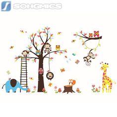 Wandtattoo Kinderzimmer Deko Wald Sticker Tiere Baum Affe Kinder ZOO XXL FWT13C