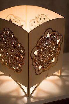 Laser Cut Tabletop Lantern Mandala Night Light by Driftwith