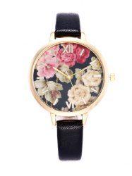 Floral Print Roman Numeral Wrist Quartz Watch