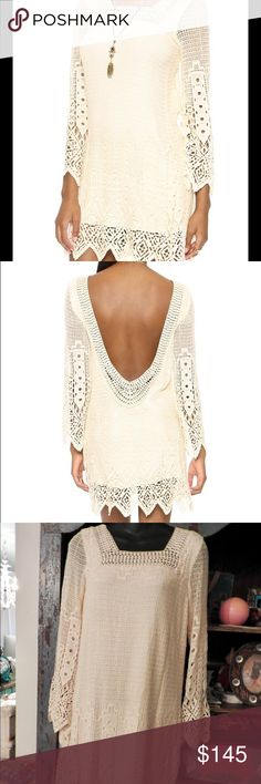 JEN'S PIRATE BOOTY SANDALWOOD CROCHET & LACE DRESS Jen's Pirate Booty Sandalwood mini dress sold out at Revolve Clothing and Shopbop at $286.  Excellent condition. Small.   A patterned-crochet mini dress has eclectic appeal with a zigzag hem and matching cuffs. The square neckline plunges to a deep scoop back. Long sleeves. Tonal jersey lining. Fabric: Crochet. 100% cotton. Hand wash. Made in the USA. Measurements Length: 33.5in / 85cm, from shoulder Measurements from size S Jen's Pirate…