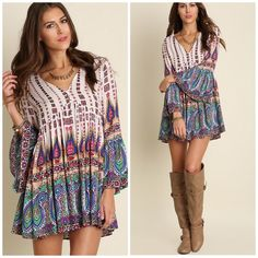 "Bohemian Tunic Print Dress Beautiful Boho Print Dress with flare sleeve details . Paisley mixed print . S M L button detail at neckline . Loose style can also be worn with tights . S - 19"" pit to pit M 20"" pit to pit and 21"" large pit to pit . Pastel Vivacouture Dresses Long Sleeve"
