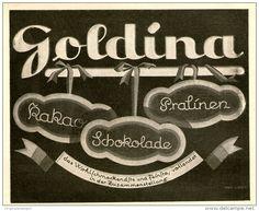 Original-Werbung/ Anzeige 1926 - GOLDINA KAKAO / SCHOKOLADE / PRALINEN  - ca. 140 x 115 mm