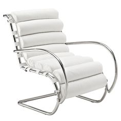Modern White Leather Lounge Chair Rippley