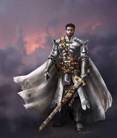 m Paladin Plate Armor Cloak Greatsword male Traveler med Fantasy Male, Fantasy Armor, High Fantasy, Dark Fantasy Art, Fantasy Character Design, Character Inspiration, Character Concept, Character Art, Dungeons And Dragons Characters
