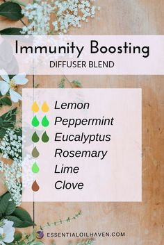 Give your immune system a boost with this essential oil diffuser blend recipe! #essentialoilhaven #essentialoils #diffuserblends #aromatherapy