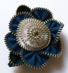 Dark Blue and White Floral Brooch / Zipper Pin by ZipPinning 2844 by ZipPinning on Etsy