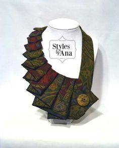 NEW- Woodland - Unique Repurposed Necktie Art Accessory Necklace/Trendy Collar, Button Art, Fabric Statement Neckalce 100% Silk Necktie