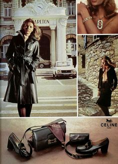 Seventies Fashion, 70s Fashion, French Fashion, Fashion Brands, Vintage Fashion, Fashion Outfits, Fashion Black, Fashion Ideas, Celine Campaign